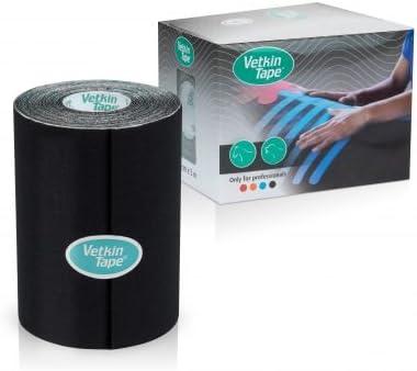 VetkinTape - Rollo de cinta de kinesiología para equina/caballos de 10 cm x 5 m también se puede aplicar en canina/perros Colores disponibles: negro, azul, rojo y naranja se puede utilizar para