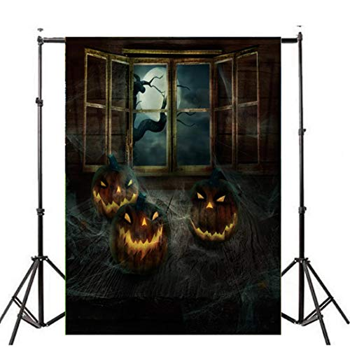 Highpot Halloween Vinyl Photo Background 3ft X 5ft Pumpkin Lantern Photography Backdrop Studio Prop (C) ()