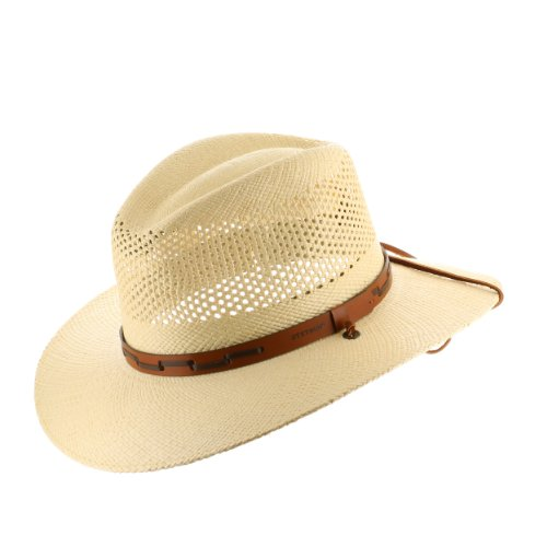 (Stetson Outback Vented Mens Straw Panama Hat 7)