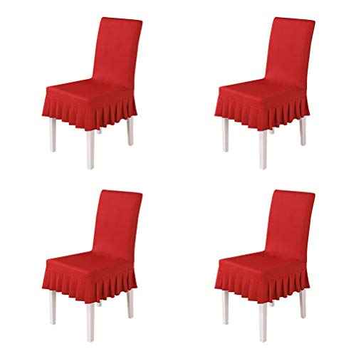 larsuyar Dining Chair Covers Short Ruffled, Stretch Spandex Multi-Color Chair Slipcovers for Wedding Party Hotel (4, red)
