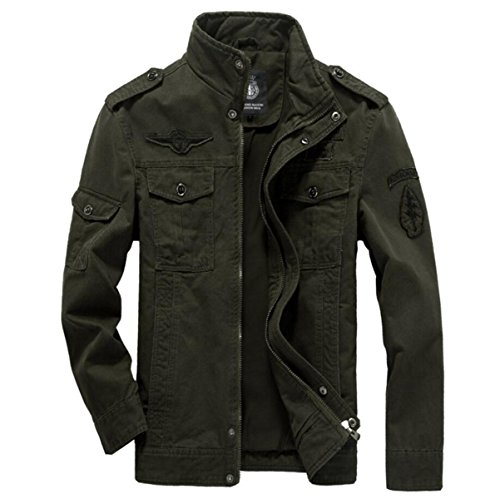 CHENSH Men's Casual Jacket Air Force One Cotton Wash Tooling Plus Size Male Coat Green