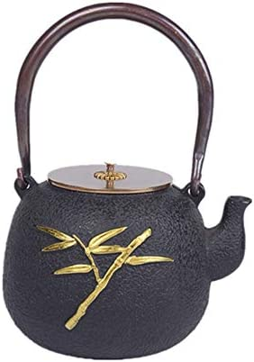 鉄瓶 鉄 ティーポット 素朴なスタイル美しくデザインされた家庭用装飾品やギフト1200ミリリットルティーポット日本の鋳鉄 電気コンロ 炭火 ih調理器 (色 : Black, Size : 1200ml)