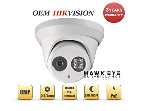 6MP PoE Security IP Camera - Compatible with Hikvision DS-2CD2363G0-I Outdoor Turret EXIR Night Vision 2.8mm Fixed Lens H.265+ 3 Year Warranty