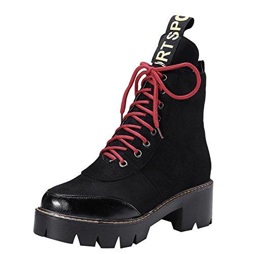 Carolbar Womens Lace Up Comfort Casual Mid Heel Short Martin Boots Black uSHKyd