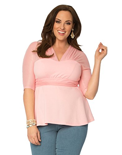 Kiyonna Women's Plus Size Pretty Peplum Mesh Top 1X Cherry Blossom
