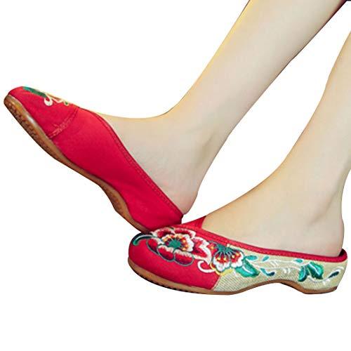 Ronde Femmes Motif Casual De Augmente Rouge Fleurs Muchao Chaussures Tête Brodées Pantoufles Pour qYIztX