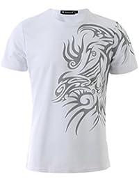 Allegra K Men Round Neck Slim Fit Novelty Prints Short Sleeves T-Shirt
