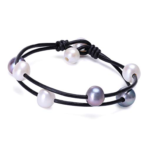 Cultured Freshwater White and Black Pearl Bracelet Handmade Genuine Leather 2 Strand Jewelry Gift for Women Girls 7.8''