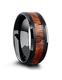 Wood Inlay Tungsten Wedding Ring (Black)