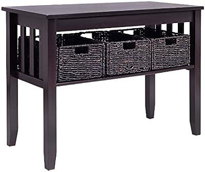 Sofa Table With Drawers Black Espresso   Entryway Storage 3 Removable  Baskets Bundle W Floor Protector