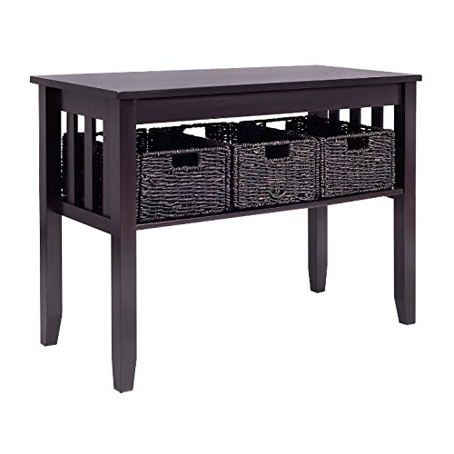 Sofa Table With Drawers Black Espresso - Entryway Storage 3 Removable Baskets Bundle w Floor Protector Pads - Sofa Table Baskets