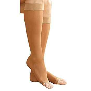 Women's Support Plus Sheer Firm Compression Open-Toe Knee-Highs - Beige - Medium