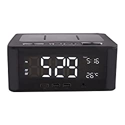 Altec Lansing IMW466-N LCD Alarm Clock Bluetooth Speaker with USB Charging Ports for Smart Phones and Tablets, AUX Cord, and On-Board Mic for Hands Free Talking