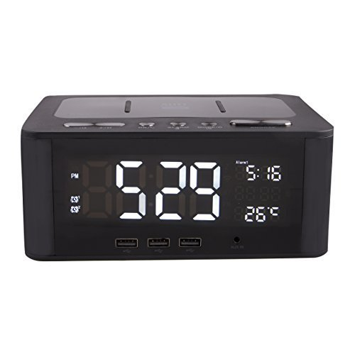 (Altec Lansing IMW466-N LCD Alarm Clock Bluetooth Speaker with USB Charging Ports for Smart Phones and Tablets, AUX Cord, and On-Board Mic for Hands Free Talking)
