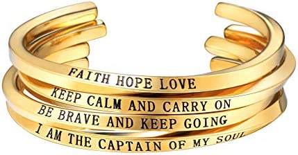 Faith Hope Love//Keep Calm and Carry ON//BE Brave and Keep Going//I AM The Captain of My Soul U7 Inspirational Bracelet Adjustable Cuff Style Stainless Steel 18K Gold Plated Twisted Bangle