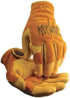 Large Cow Grain Leather//Pigskin Multi-Task Welding Gloves Tan//Gold
