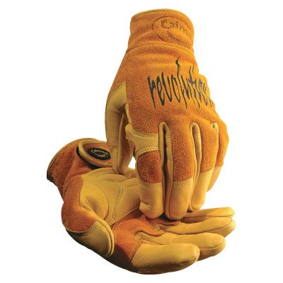 Pigskin Grain - Multi-Task Welding Gloves, Cow Grain Leather/Pigskin, Large, Tan/Gold