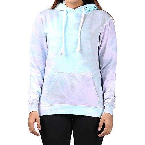 Kara Hub Tie Dye Hoodie Pastel Tie-Dye Hoodies Long Sleeve Pullover Hooded Sweatshirt (X-Large, Violet Storm Thick Drawcord)