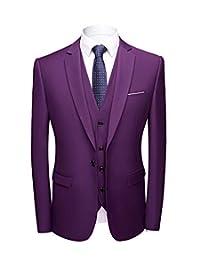 Vincent Bridal Men's 3 Piece Suit One Button Suits Slim Fit(Blazer+Vest+Pants)