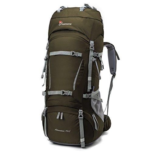 Mountaintop 70L+10L Internal Frame Backpack Hiking Backpack Backpacking Trekking Bag with Rain...