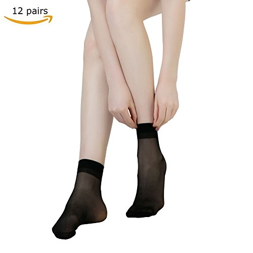 Black Silk Trousers - CHARHODEN 12 Pairs Women¡¯s Free-size Ankle High Sheer Crystal Silk Socks 15 Denier,Comfortable and Breathable Black