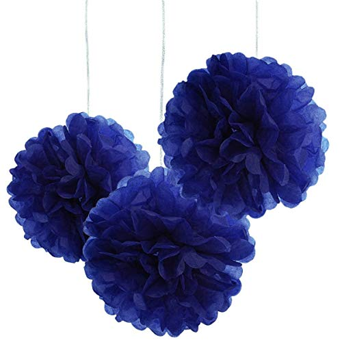 - 10pcs Royal Blue Tissue Hanging Paper Pom-poms, Hmxpls Flower Ball Wedding Party Outdoor Decoration Premium Tissue Paper Pom Pom Flowers Craft Kit, 10 Inch