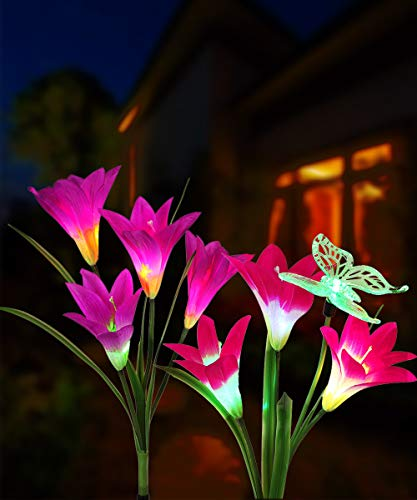 Solar Flower Lights, Solar Lights Outdoor Garden Decorative with 7 Lily Flower 1 Butterfly for Yard Patio Lawn Garden Decorations (Purple + Red) (Butterfly Light)