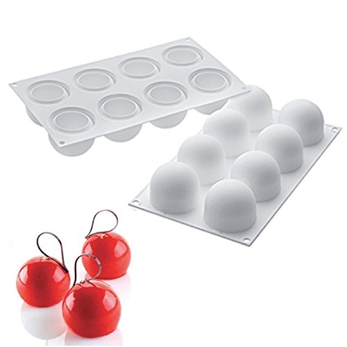 OMAS 8 Hole Semi-circle Silicone Mousse Mold- Not Sticky Cake Decoration Mould For Mousse,Chocolate Brownie,Jelly,Ice Cream,Chiffon,Cheesecake,Fondant