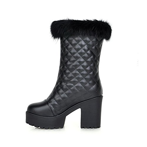 Round Heels Chunky and High Toe Black Boots Toe Closed Women's AmoonyFashion Heels with Checks 6xTRwf