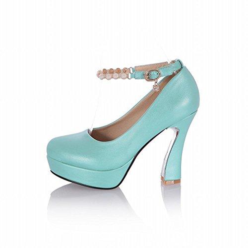 Latasa Mode Féminine Perlée Cheville-talon Haut-talon Plate-forme Robe Partie Pompes Chaussures Bleu