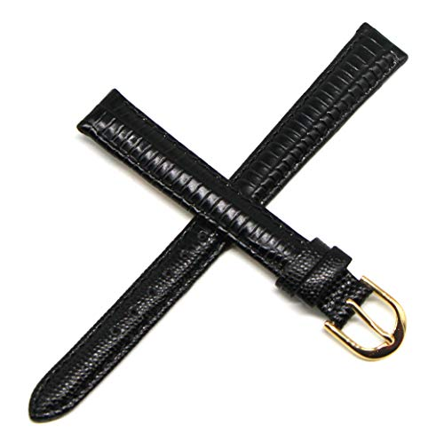 Lucien Piccard 12MM Black Lizard Grain Genuine Leather Watch Strap Band 7.5