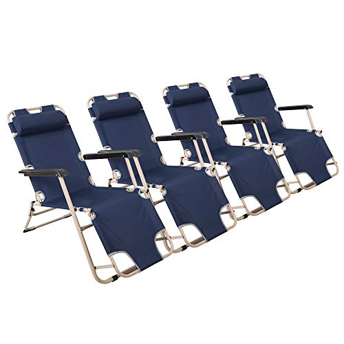 Lucky Tree 4 Pack Portable Chaise Lounge Chair Flat Folding Outdoor Recliner Chair for Camping Beach Pool, 60