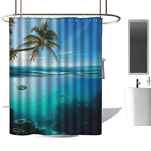 TimBeve Waterproof Shower Curtain Ocean,Tropical Underwater Shot with Surface Coconut Tree and Sky Aqua Water Theme Paradise Image,Turquoise,Polyester Bathroom Shower Curtain Set with Hooks 70
