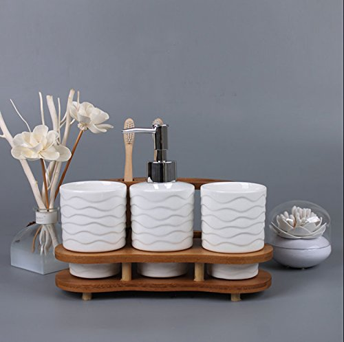 Creative-Mouthwash-Bamboo-Frame-4-Pieces-with-Soap-Dish-Soap-Dispenser-Toothbrush-Holder-Tumbler-White