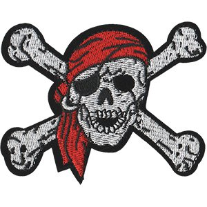 Skulls Pirate Skull, Officially Licensed, Iron-On / Sew-On, Embroidered PATCH - 3.1