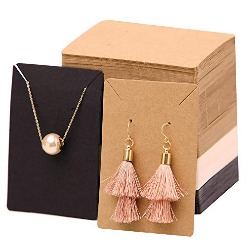 Earrings and Necklace Display Cards with 100 Self-Sealing Clear Bags for Earring Card Holder, Earring Display Cards for Earrings Necklaces Kraft Brown Black and White 3.5 x 2.4 inch