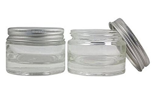 1PCS 50ML 1.7oz Clear Empty Glass With Liners Aluminum Silver Lid Cream Bottle Pot Jars Cosmetic Comtainer For Lotion Face Creams Toners Lip Balms Makeup Samples Stotage Box