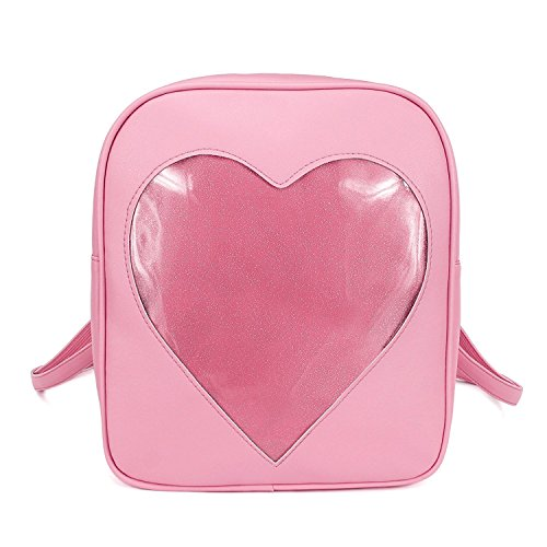 Girls Kawaii Bling Transparent Love Star School Bag Backpack (Pink) by XSCOMSPORT