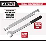ARES 70074-2-Piece Fan Clutch Wrench Set - 32mm Fan Clutch Nut Wrench - Water Pump Holder Removal Tool Kit