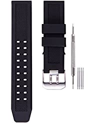 23mm Rubber Watch Band Strap Fits Casio Timex Seiko Replacement Luminox 3050 8800 and 3950 Series with Silver Double Prong Clasp
