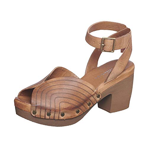 Antelope Women's 970 Taupe Leather Studs Ankle Strap Laser Cut Heeled Sandals 41