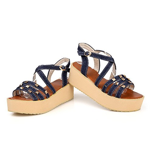 AllhqFashion Womens Buckle Open Toe Kitten-Heels Denim Solid Platforms & Wedges Darkblue yfqjn5Wq