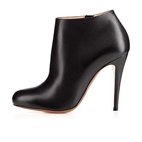 Arc-en-Ciel zapatos de mujer punta redonda Bota de gamuza con cremallera en el tobillo Negro