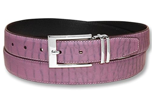 (Croc Pattern PURPLE Color Crocodile Bonded Leather Men's Belt Silver-Tone Bkl 42)