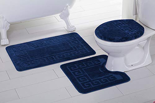 - Elegant Home 3 Piece Bathroom Rug Set Bath Rug, Contour Mat, Lid Cover Non-Slip with Rubber Backing Greek Key Design Solid Color # Laura (Navy Blue)