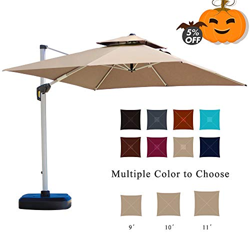 PURPLE LEAF 10 Feet Double Top Deluxe Square Patio Umbrella Offset Hanging Umbrella Cantilever Umbrella Outdoor Market Umbrella Garden Umbrella, Beige