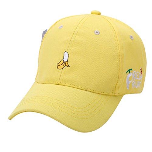[Vibola Summer Women Sun Hat Fruit Embroidered Golf Hat Adjustable Baseball Cap (Yellow)] (Fruit Hat Lady)
