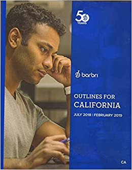 2018-2019 Barbri Bar Exam Outlines for California CA: Barbri: Amazon