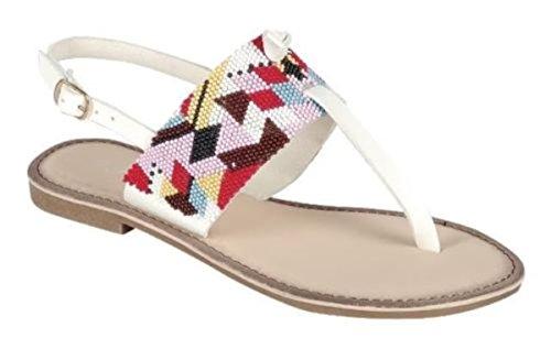 Vrouwen Gerolde Boho String T-strap Sling Back Platte Platte Sandalen Schoenen Wit