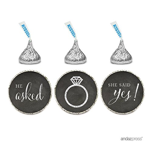 Andaz Press Chocolate Drop Labels Stickers, Wedding He Asked She Said Yes!, Vintage Chalkboard Print, 216-Pack, for Bridal Shower Engagement Hershey's Kisses Party Favors Decor]()